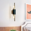 Metal Slim Tube Wall Lighting Contemporary LED Sconce in Brass with Rectangle Black Marble Deco