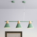 Nordic Style Cone Cluster Pendant Light Metallic 3-Light Dining Room Linear Suspension Lamp in Yellow/Blue/Green