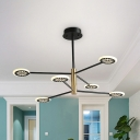 Round Cake Shape Chandelier Contemporary Metal 6/8 Heads Living Room Hanging Light Kit in Black with Linear Design