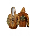 Mens Yellow Fashion Long Sleeve Drawstring Zipper Front Viking 3D Cosplay Pattern Relaxed Hoodie