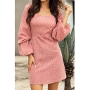 Pretty Girls Blouson Sleeve Round Neck Polka Dot Printed Zip Back Mini A-Line Dress in Pink