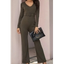 Formal Elegant Ladies Long Sleeve Round Neck Belted Long Length Flared Jumpsuit in Army Green