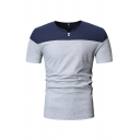 Leisure Boys Short Sleeve V-Neck Button Up Color Block Slim Fit Tee