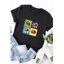 Simple Girls Roll Up Sleeve Crew Neck Cartoon Lip Patterned Relaxed T Shirt