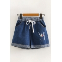 Popular Girls Drawstring Waist Pen Embroidery Contrasted Relaxed Denim Shorts