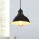 1 Bulb Dome Hanging Lighting Antiqued Black Finish Metallic Suspension Lamp for Bar