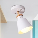 White/Green Cone Semi Flush Lighting Fixture Simple 1 Light Metallic Close to Ceiling Lamp with Adjustable Rod