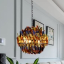 Blue Ball Cage Chandelier Pendant Light Vintage Iron 4 Lights Hanging Lamp with Colorful Feather Deco