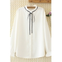 Elegant Ladies Long Sleeve Stand Collar Button Up Bow Tied Ruffled Plain Relaxed Shirt