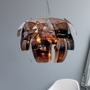 4-Light Living Room Chandelier Modernist White Pendant with Floral Smoke Gray Glass Shade