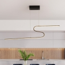 Black Finish Curved Hanging Chandelier Simple LED Acrylic Suspended Pendant Light in Warm/White/Natural Light