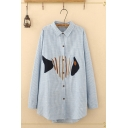 Leisure Womens Long Sleeve Lapel Button Button Front Fish Embroidery Striped Long Oversize Shirt