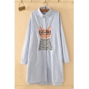 Leisure Womens Long Sleeve Lapel Collar Button Down Funny Cat Embroidered Striped Longline Loose Fit Shirt