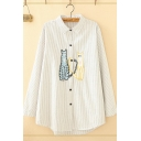 Simple Classic Long Sleeve Lapel Neck Button Up Stripe Printed Cat Embroidery Curved Hem Loose Shirt for Girls