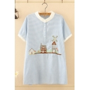 Lovely Girls Short Sleeve Stand Collar Button Up Cartoon Houses Embroidered Striped Longline Relaxed Shirt in Blue