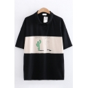 Popular Girls Short Sleeve Lapel Collar Button Up Letter CACTUS Graphic Color Block Relaxed Fit Polo Shirt