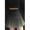 Stylish Girls Black High Rise Ombre Plaid Print Mini Pleated A-Line Skirt
