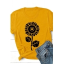 Casual Simple Girls Short Sleeve Crew Neck Floral Printed Fitted Tee Top