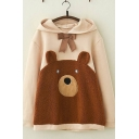 Casual Girls Long Sleeve Bow Tie Front Fuzzy Bear Patterned Loose Fit Hoodie