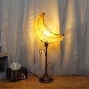 Curved Bedroom Nightstand Lamp Art Deco Metal 1 Bulb White/Yellow Task Lighting with Crystal Bead