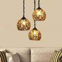Black Dome Cluster Pendant Art Deco Metal 3 Bulbs Hanging Ceiling Light with Round/Linear Canopy