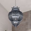Art Deco Hollow Ceiling Pendant 1 Bulb Metal Hanging Light Fixture in Grey for Restaurant