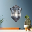 Lantern Metal Hanging Chandelier Antique 6 Lights Living Room Ceiling Light in Grey