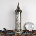 1 Light Cylinder Night Table Light Arabian Bronze Metal Nightstand Lamp for Living Room, 23.5