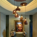 Geometric Restaurant Cluster Pendant Traditional Metal 7 Bulbs Black/Silver/Brass Suspension Light