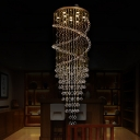 Cascading Stair Ceiling Lamp Clear K9 Crystal 10 Bulbs Contemporary LED Multi Pendant Light Fixture in Brass