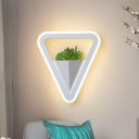 Triangle Bedroom Sconce Light Industrial Acrylic 1 Bulb White LED Plant Wall Lighting in Warm/White Light
