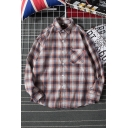 Casual Mens Long Sleeve Lapel Collar Plaid Patterned Button Front Patched Packet Loose Fit Shirt
