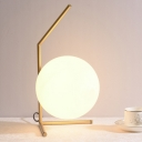1 Head Sphere Nightstand Lamp Contemporary White Glass Reading Book Light in Black/Gold
