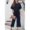 Black Fashion Short Sleeve Round Neck Bow Tie Waist Ankle Length Wide Leg Jumpsuits