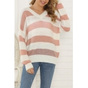 Pretty Girls' Long Sleeve V-Neck Stripe Printed Knitted Loose Fit Sweater Top in Pink