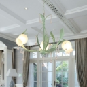 Cream Glass Pink/Green Chandelier Flower 3/6/8 Lights Traditionalism LED Drop Lamp for Bedroom