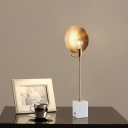 Modern Dome Desk Lamp Metal 1 Head Task Lighting in Gold with Rectangle Marble Shade
