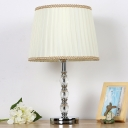 1 Bulb Conical Nightstand Lamp Contemporary Fabric Reading Book Light in Beige