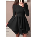 Pretty Solid Color Long Sleeve Off the Shoulder Asymmetric Hem Short Pleated Flared Dress for Party Girls