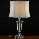 1 Head Living Room Table Light Modern Grey Nightstand Lamp with Drum Fabric Shade