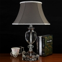 Wide Flare Reading Light Modernist Fabric 1 Bulb Grey Nightstand Lamp with Crystal Base