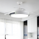White Round Ceiling Fan Lamp Modernist Acrylic Living Room 36