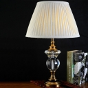 Contemporary 1 Head Task Lighting White Tapered Nightstand Lamp with Fabric Shade