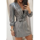 Gorgeous Women's Silver Bling Bling Long Sleeve Shawl Neck Buckle Belted Sequins Mini Shift Dress for Nightclub