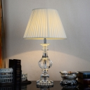 Modern Urn-Shaped Fabric Desk Light Clear Crystal 1 Head Night Table Lamp in White