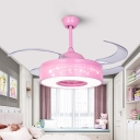 Modernist Ring Hanging Fan Lamp Metal Living Room LED 4-Blade Semi Flush Mount Light in Pink/Blue with Wall/Remote Control, 36