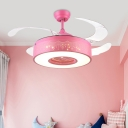 Pink/Blue Ring Fan Light Modernist Metal LED 4-Blade Semi Flush Mount Ceiling Lamp with Acrylic Shade, 42