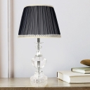 1 Head Curved Fabric Desk Light Modern Hand-Cut Crystal Nightstand Lamp in Black