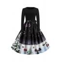 Retro Girls' Long Sleeve Round Neck Bow Tie Waist Christmas Tree House Printed Maxi Pleated Flared Dress