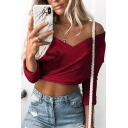 Chic Street Ladies' Long Sleeve Off the Shoulder Cropped Fitted Plain Wrap T Shirt